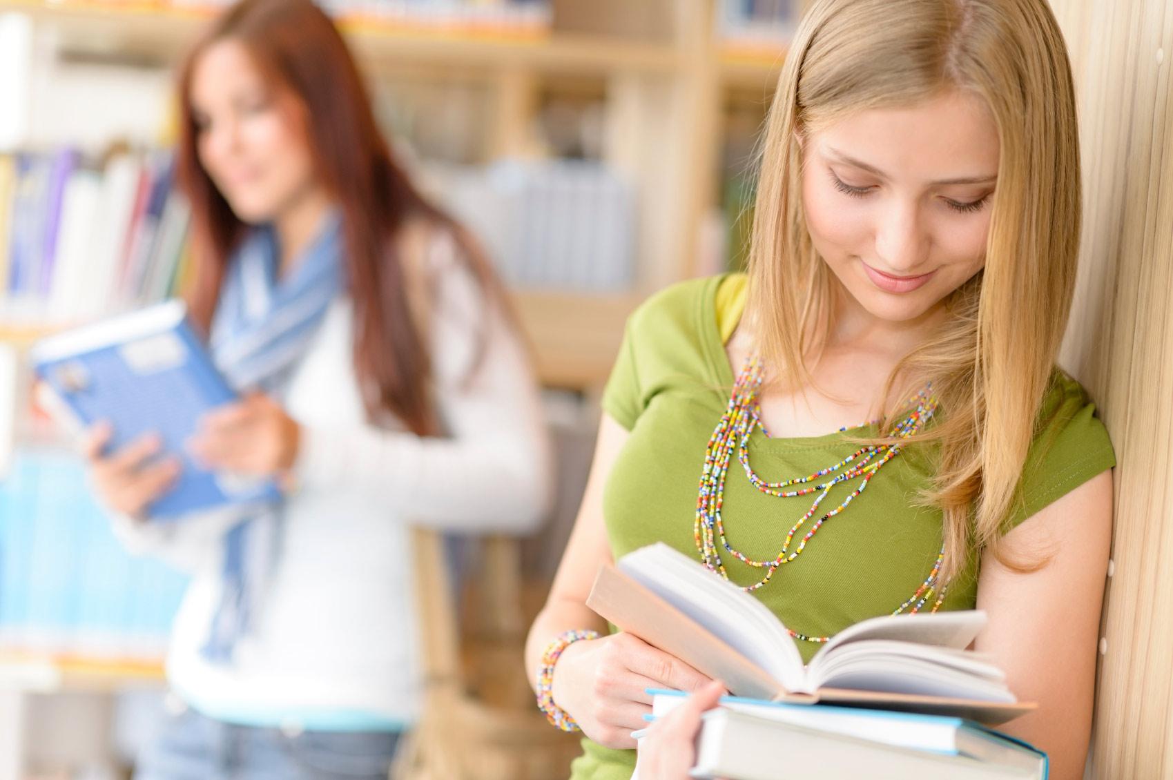 Teenager enjoying reading